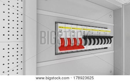 Electrical Circuit Breakers. 3D Rendering