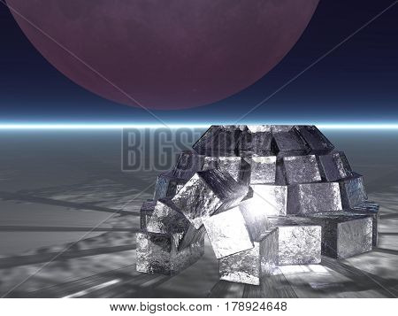 A 3D illustration of an icy igloo at night with light inside the igloo.