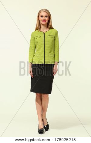 Blond Business Woman In Summer Suit