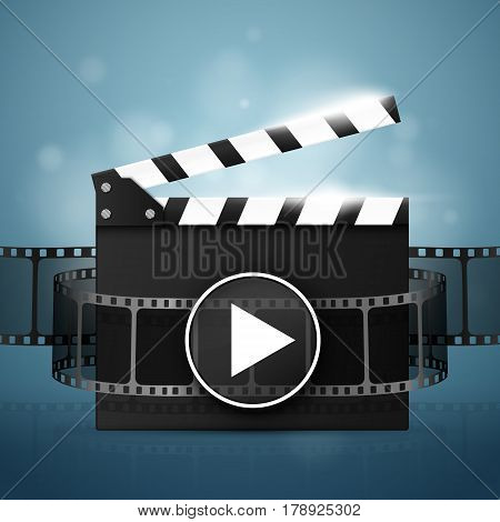 Online Cinema Background With Movie Reel And Clapper Board. Vector Flyer Or Poster. Illustration Of Film Industry.