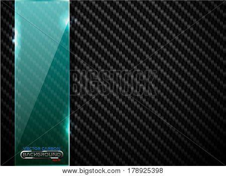 Vector black carbon fiber background with vertical green transparent glass plate banner. Industrial elegant design illustration.