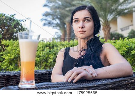 Beautiful Girl. Girl With A Glass Of Juice On Nature.