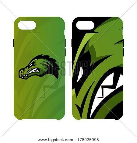 Furious alligator head sport vector logo concept smart phone case isolated on white background.  Modern predator professional team badge design. Premium quality wild animal artwork cell phone cover illustration.