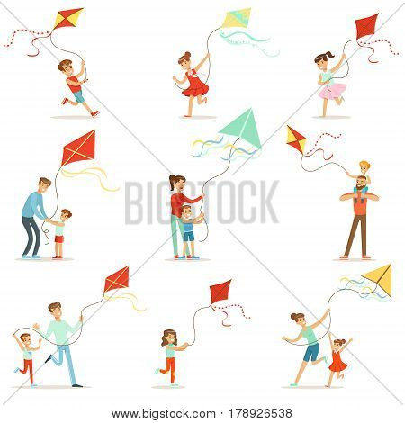 Happy kids running with kite. Parents help children run a kite, a fun family vacation. Cartoon detailed colorful Illustrations isolated on white background