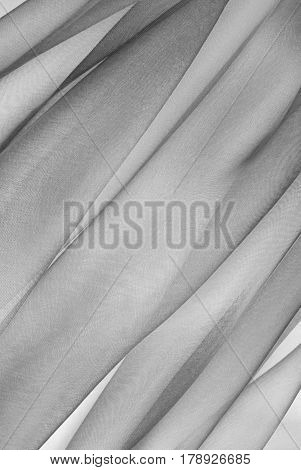 close up of the  organza fabric in grey color