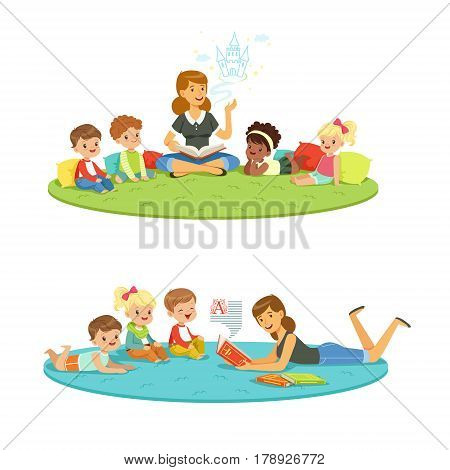 Elementary students and teacher. Children education and upbringing in the kindergarden. Cartoon detailed colorful Illustrations isolated on white background