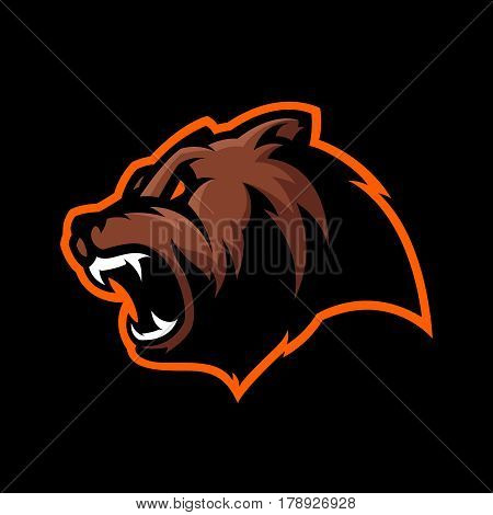 Furious bear head sport vector logo concept isolated on dark background. Modern predator professional team badge design. Premium quality wild animal t-shirt tee print illustration.
