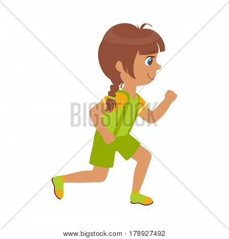 Little girl running in a green shirt and shorts, kid in a motion, a colorful character isolated on a white background