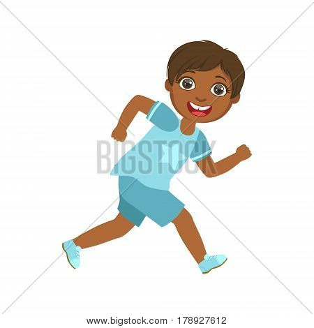 Happy little boy running and smiling, a colorful character isolated on a white background