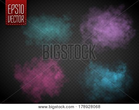 Set of colorful fog or smoke isolated, transparent special effect. Bright vector cloudiness, mist or smog background. Vector illustration