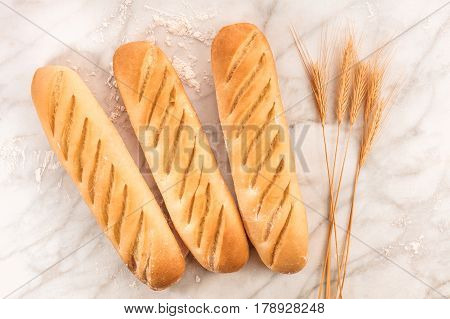 An overhead photo of freshly baked loaves of white bread with wheat spikes, on a white marble texture with flour and a place for text