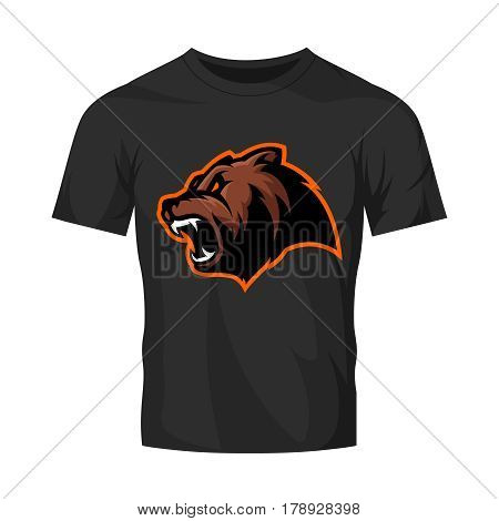Furious bear head sport vector logo concept isolated on black t-shirt mockup. Modern predator professional team badge design. Premium quality wild animal t-shirt tee print illustration.