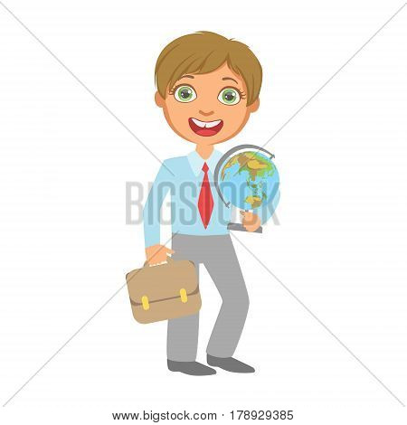 Elementary school student standing and holding globe and school bag, education and back to school concept, a colorful character isolated on a white background