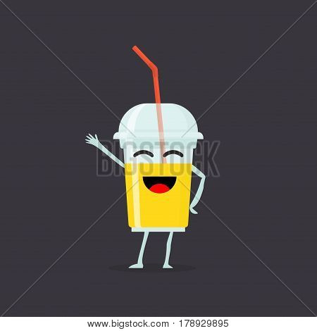 Funny and cute Juice smoothie character isolated on white background. Juice with smiling human face vector illustration. Kids restaurant menu