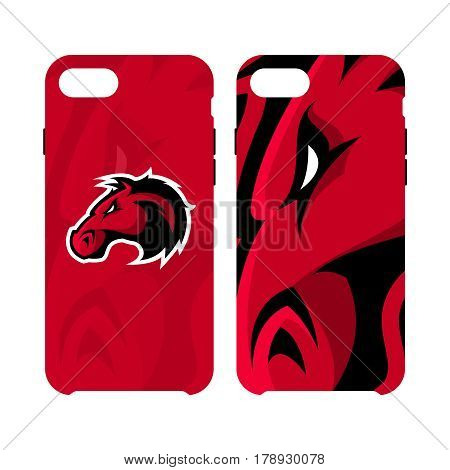 Furious horse head sport club vector logo concept smart phone case isolated on white background. Modern professional team badge design. Premium quality wild stallion animal artwork cell phone cover illustration.