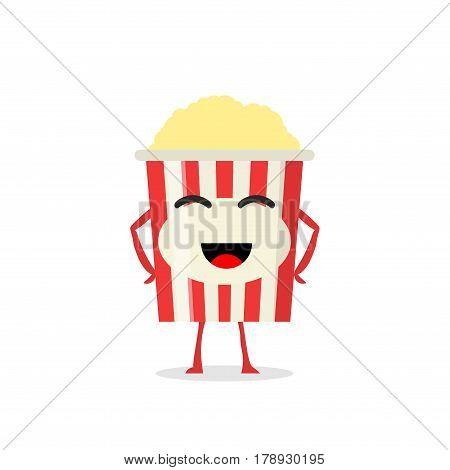 Funny and cute Popcorn character isolated on white background. Popcorn with smiling human face vector illustration. Kids restaurant menu