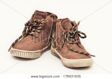 New children's shoes isolated on white background