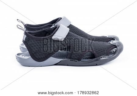 Women's Black and Gray Water Shoes Isolated on White