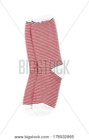 Women's Red Stripe Socks Isolated on White