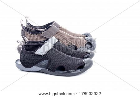 Mens and Womens Water Shoes Isolated on White