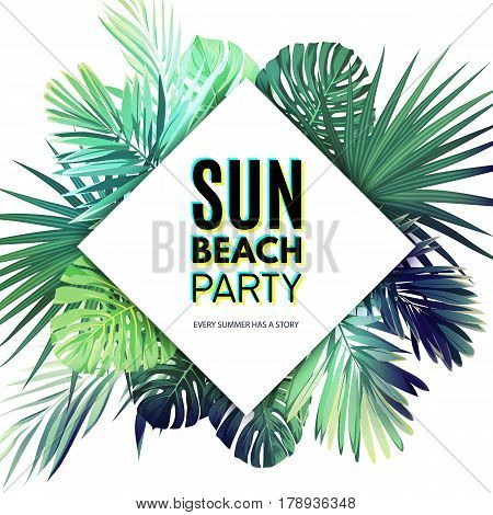 Bright floral poster template for summer beach party. Tropical flyer with green exotic palm leaves. Vector illustration.