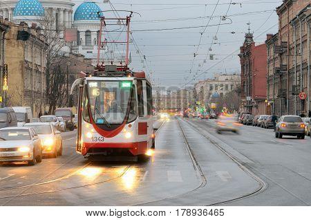 25.03.2017.Russia.Saint-Petersburg.Rails on city road was designed for traffic tram transportation .