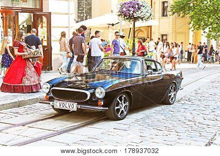 LVIV, UKRAINE - JUNE 28, 2014: Retro Volvo car on the street in Lviv on the frame of classic car festival