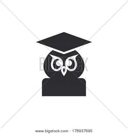 School and education symbol. Owl in graduation hat icon vector filled flat sign solid pictogram isolated on white logo illustration
