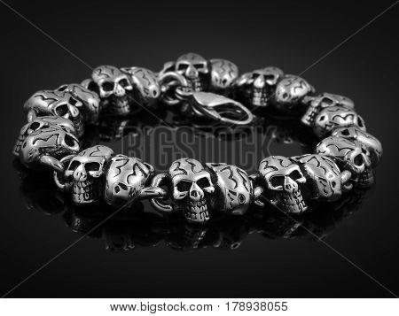 Skulls Bracelet Men - Stainless Steel