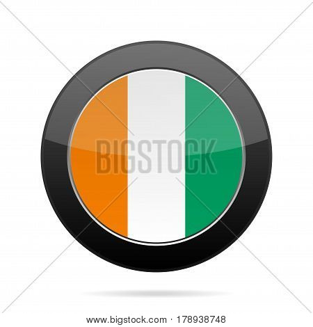 National flag of Ivory Coast. Shiny black round button with shadow.