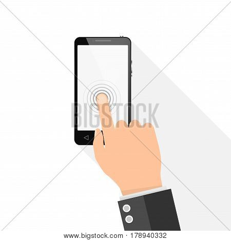 Smart phone with blank screen. Vector illustration. A man touches finger touch screen phone
