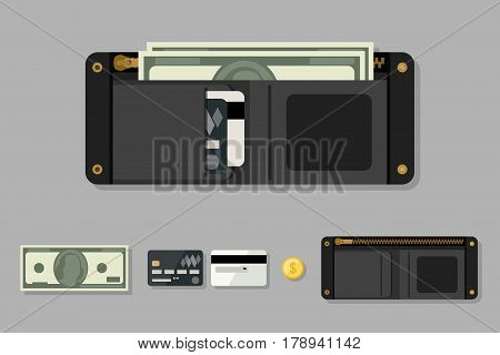 Wallet black with money in flat style. Icons of coin, wallet, credit cards.