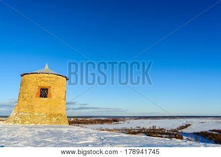 The medieval fortress of the Bulgars on the mountain in winter
