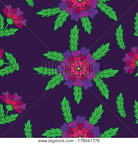 Vector seamless floral pattern with violet fancy flower and green leaves. Fancy flower background for printing on fabric paper for scrapbooking gift wrap.