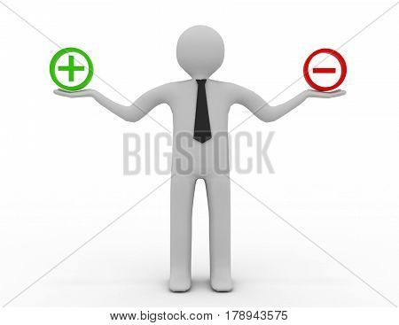 3d people - man person and sign plus or minus . rendered illustration