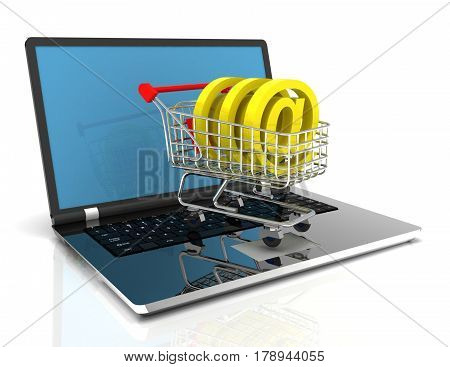 online shopping  concept with cart amd laptop .3D . rendered illustration