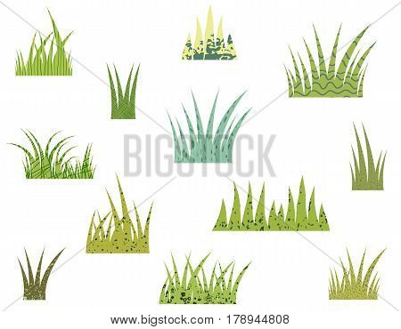 Tufts of vector stylized green grass with texture on white background