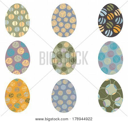 Vector Easter eggs with abstract patterns isolated on white