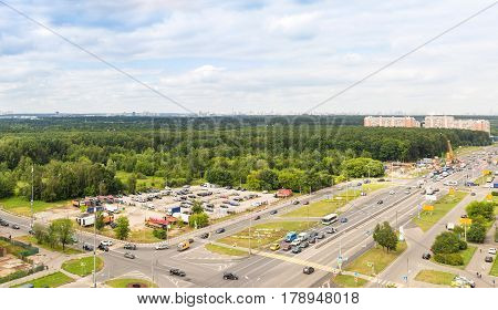 View from above to the intersection on the highway