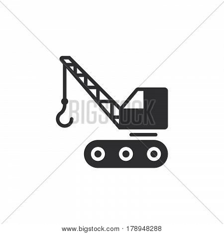 crawler crane icon vector filled flat sign solid pictogram isolated on white logo illustration