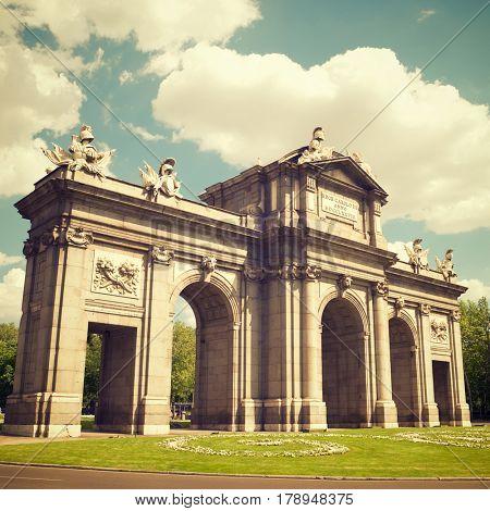Puerta de Alcala view in Madrid, Spain.