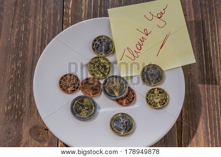 plate with coins