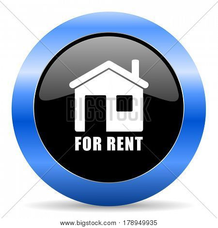 For rent black and blue web design round internet icon with shadow on white background.