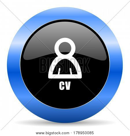 Cv black and blue web design round internet icon with shadow on white background.