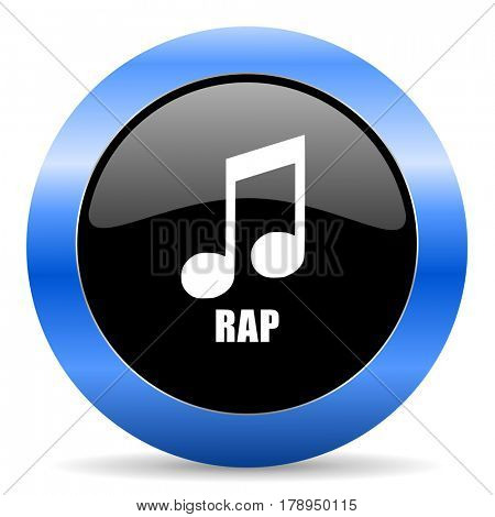 Rap music black and blue web design round internet icon with shadow on white background.