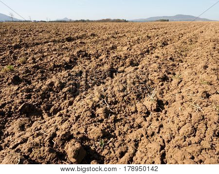 Dusty Clay On Field. Empty Plowed Field Waits For Sowing.