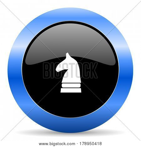 Chess horse black and blue web design round internet icon with shadow on white background.