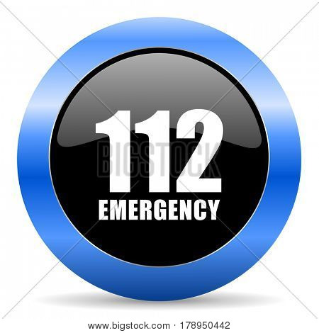 Number emergency 112 black and blue web design round internet icon with shadow on white background.