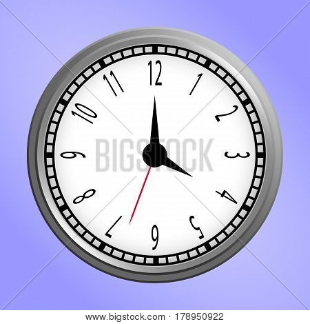 Classic silver and white round wall clock icon isolated on purple background. Vector Illustration.