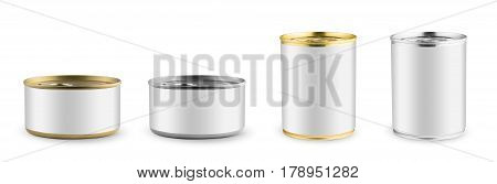Set of mockups. White blank tincan silver and gold metal Tin Can, canned Food. Isolated on white background. Ready for your design. Real product packing.